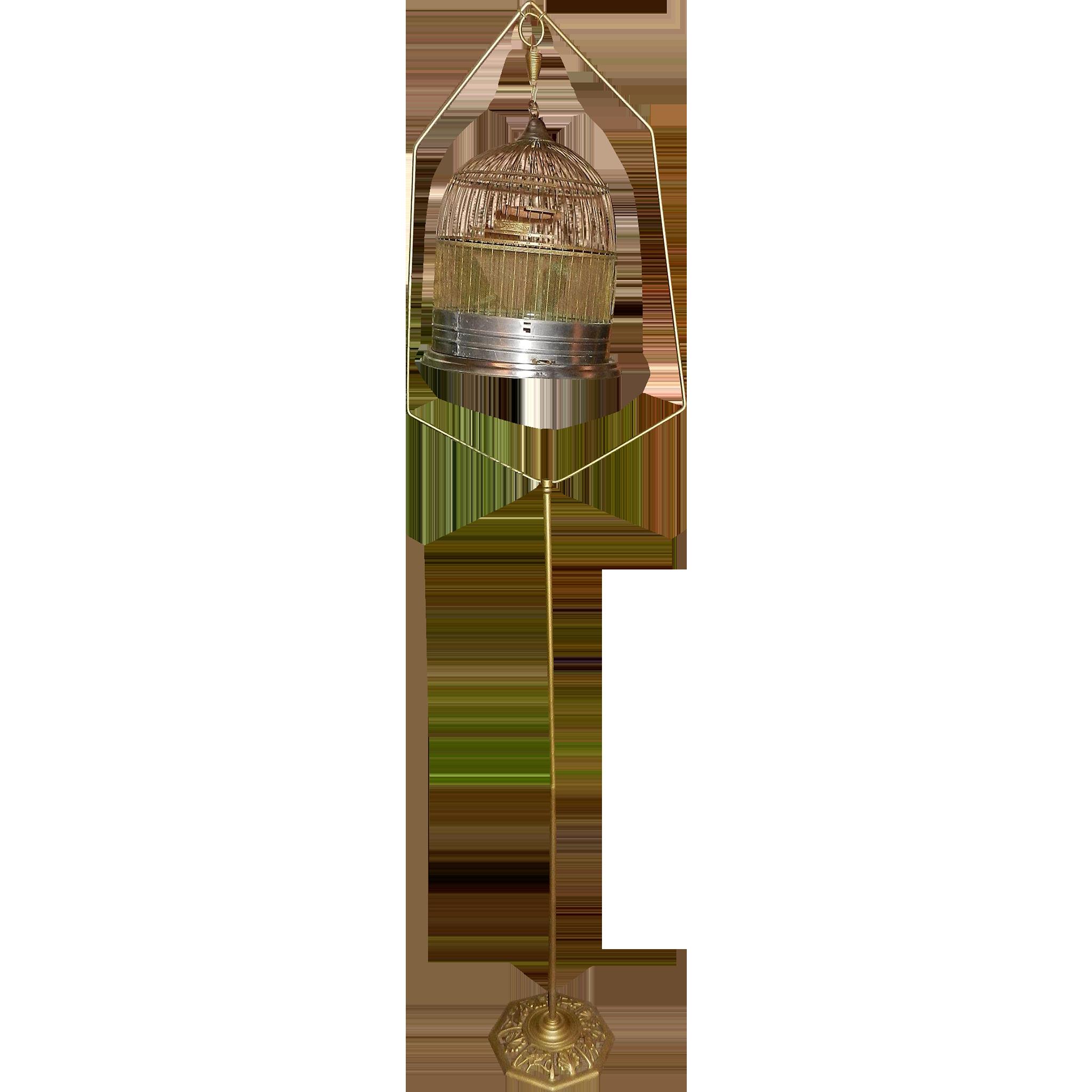 Vintage Art-Deco Brass Hendryx Hanging Hatbox Bird Cage with Cast Iron Stand