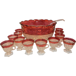 Vintage Indiana Glass Ruby Flashed Lexington Punch Bowl and 12 Footed Cups