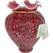 Vintage Fenton Cranberry Opalescent Daisy and Fern Pattern Vase