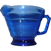 Vintage Cobalt Blue Depression Glass Creamer in Moderntone pattern by Hazel Atlas