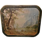 Vintage Art Deco Framed Albert Bierstadt Yosemite Valley Lithograph circa 1930's