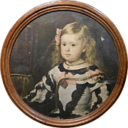 Vintage Round Framed Offset Lithograph of Young Victorian Girl