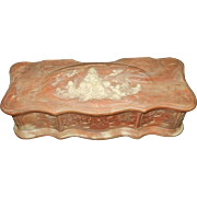 "Vintage Incolay Stone ""Venus the Sea Goddess"" Jewelry Box in Pink & White"