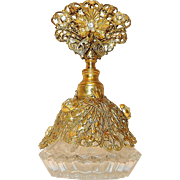 Vintage Ormolu with 22kt Gold Gilt and Rhinestones over Glass bottom Perfume Bottle