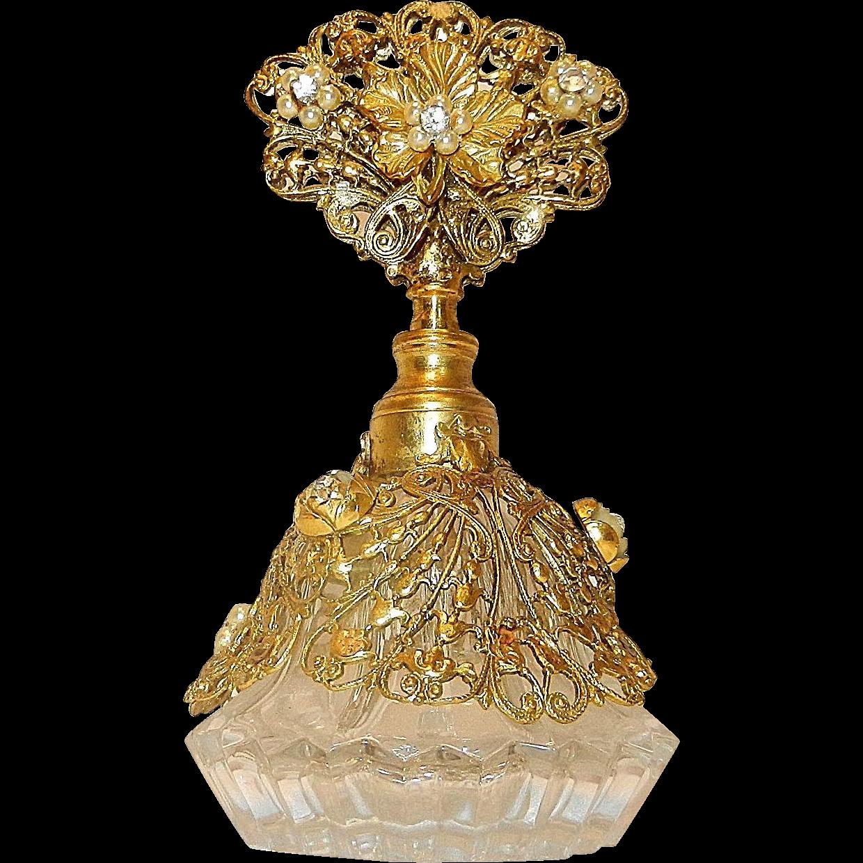 Vintage Ormolu with 22kt Gold Gilt and Rhinestones over Glass bottom Perfume Bottle