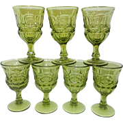Vintage Fostoria Green Argus Wine Glasses