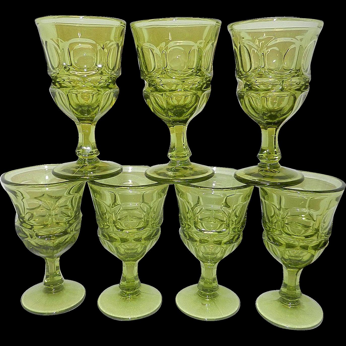 Vintage Fostoria Green Argus Wine Glasses