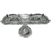 "Vintage Hofbauer ""The Byrdes Collection"" Hand Cut Crystal Pedestal Tray #1413"