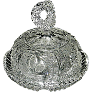 "Vintage Hofbauer ""The Byrdes Collection"" Hand Cut Crystal Butter and Cheese Dish #1430"