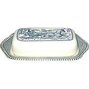 "Vintage Currier and Ives Royal China ""The Road"" Covered Butter Dish"