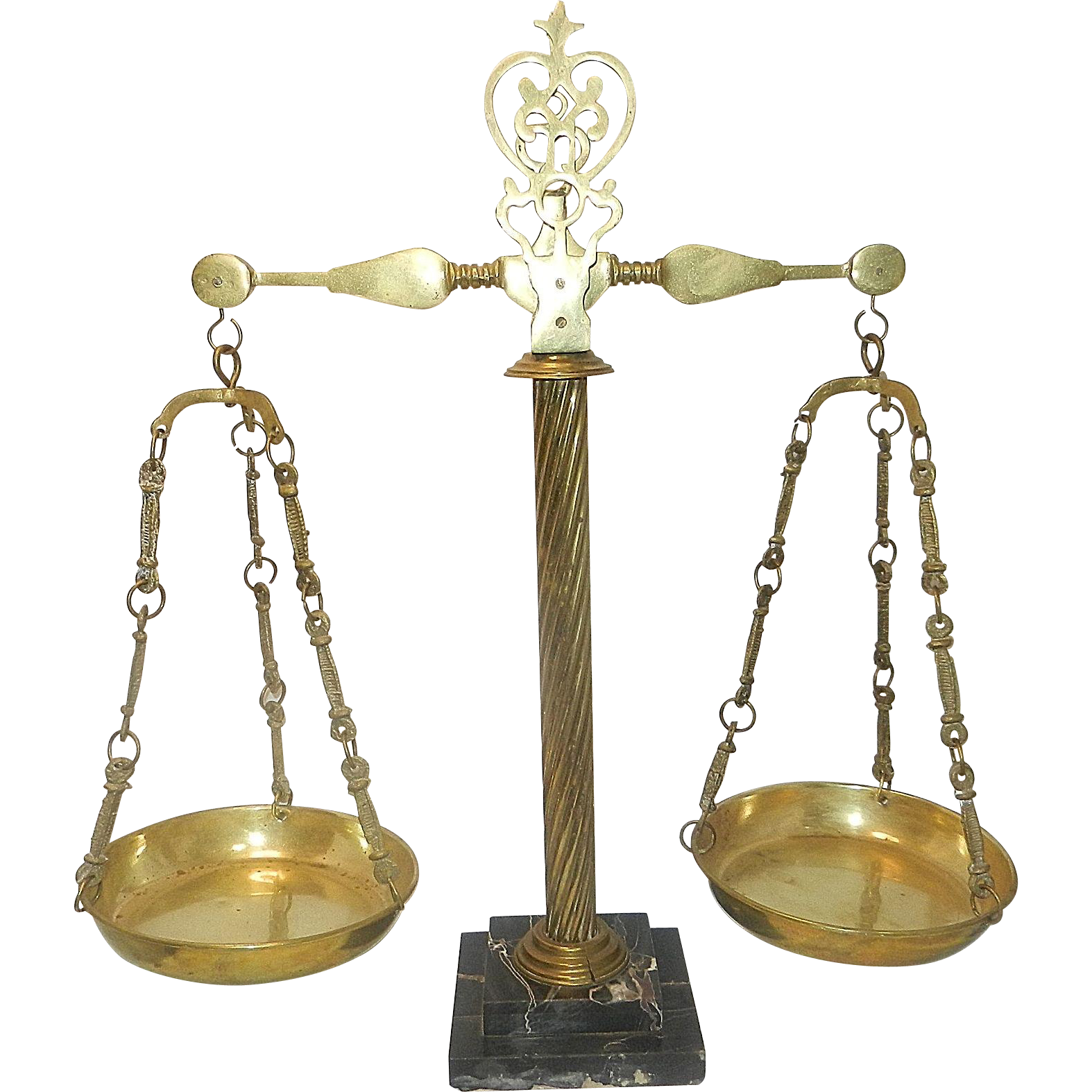 Antique Brass Scales of Justice Mounted on a Rope Twisted Column Atop a White/Black Marble Plinth