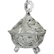 "Vintage Hofbauer ""The Byrdes Collection"" Hand Cut Crystal 3-Footed Candy Dish with Lid #1402"