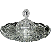"Vintage Hofbauer ""The Byrdes Collection"" Hand Cut Crystal Covered Section/Relish Dish #1445"