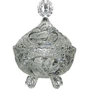 "Vintage Hofbauer ""The Byrdes Collection"" Hand Cut Crystal 3-Footed Candy Dish with Lid #1424"