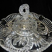 """Vintage Hofbauer """"The Byrdes Collection"""" Hand Cut Crystal Covered Section/Relish Dish #1445"""