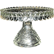 Vintage 1930's Fostoria American Crystal Round Glass Pedestal Cake Plate