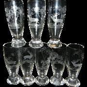 Vintage Crystal Hand Cut Intaglio German Pilsner Beer Glasses – Elk with Forest Scene