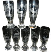 Vintage Crystal Hand Cut Intaglio German Pilsner Beer Glasses – Elk with Forest Scene