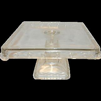 Antique Fostoria Atlanta EAPG Lion Head Square Cake Plate c. 1895