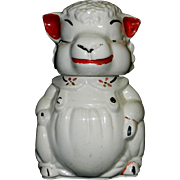 Vintage American Bisque Co. Cold Painted Lamb Cookie Jar