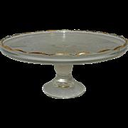 Vintage 1950's Jeannette Harp Lyre Gold Trimmed Footed Cake Plate