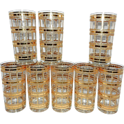 Vintage Culver Style Tumblers with 22kt Gold Overlay