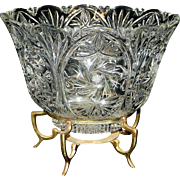 Vintage Large Crystal Pinwheel and Star Bowl with Brass Foot Holder