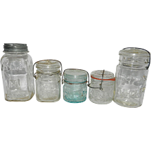 Vintage Hazel Atlas Fruit Jars Set of 5 includes Half Pints, Pint and Quarts