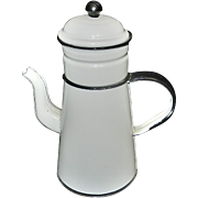Vintage French Country White Enamel Biggin Coffee Pot with Black Trim