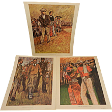 Vintage 1966 Bill Brauer History of Golf Lithographs by Eldor Publishing Co.