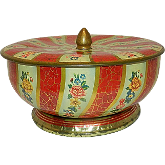Vintage Mid-Century English Round Candy Tin