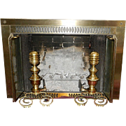 Vintage Fireplace Brass Andirons with Iron Fire Dog Log Holders