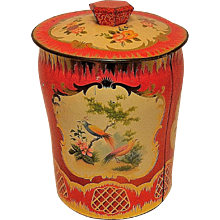 Vintage George W Horner Co Red Floral Bird Victorian Candy Tin