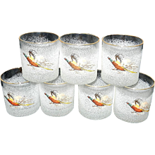 Vintage Raised Frosted Pheasant Old Fashion Glasses