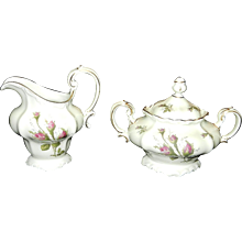 Rosenthal Moss Rose POMPADOUR Pattern Sugar and Creamer