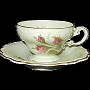Rosenthal Moss Rose POMPADOUR Pattern Footed Demitasse Cup & Saucer