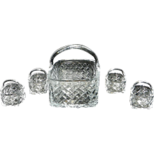 Vintage Woven Glass Basket with Smaller Baskets