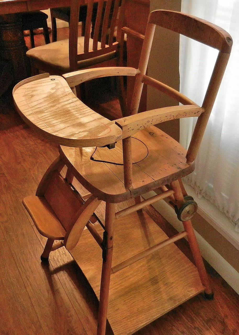Vintage Wooden High Chair Potty Chair And Play Chair In