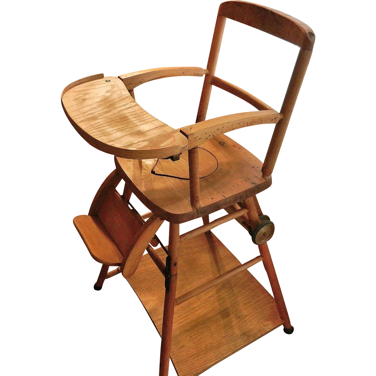 Vintage Wooden High Chair Potty And Play In One