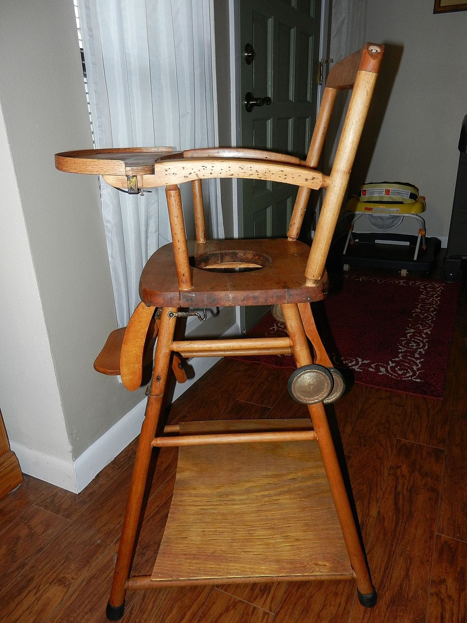 Vintage Wooden High Chair Potty Chair and Play Chair in One from - Antique High Chairs Wooden
