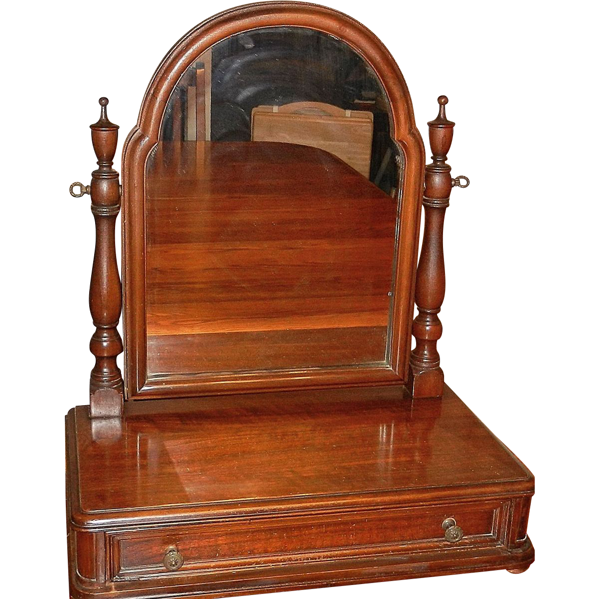 Vintage Wood Shaving Mirror With Drawer From