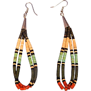 Santo Domingo Pueblo Heishi Double Strand Hanging Pierced Earrings