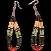 Santo Domingo Pueblo Heishi Double Strand Hanging Pierced Earrings