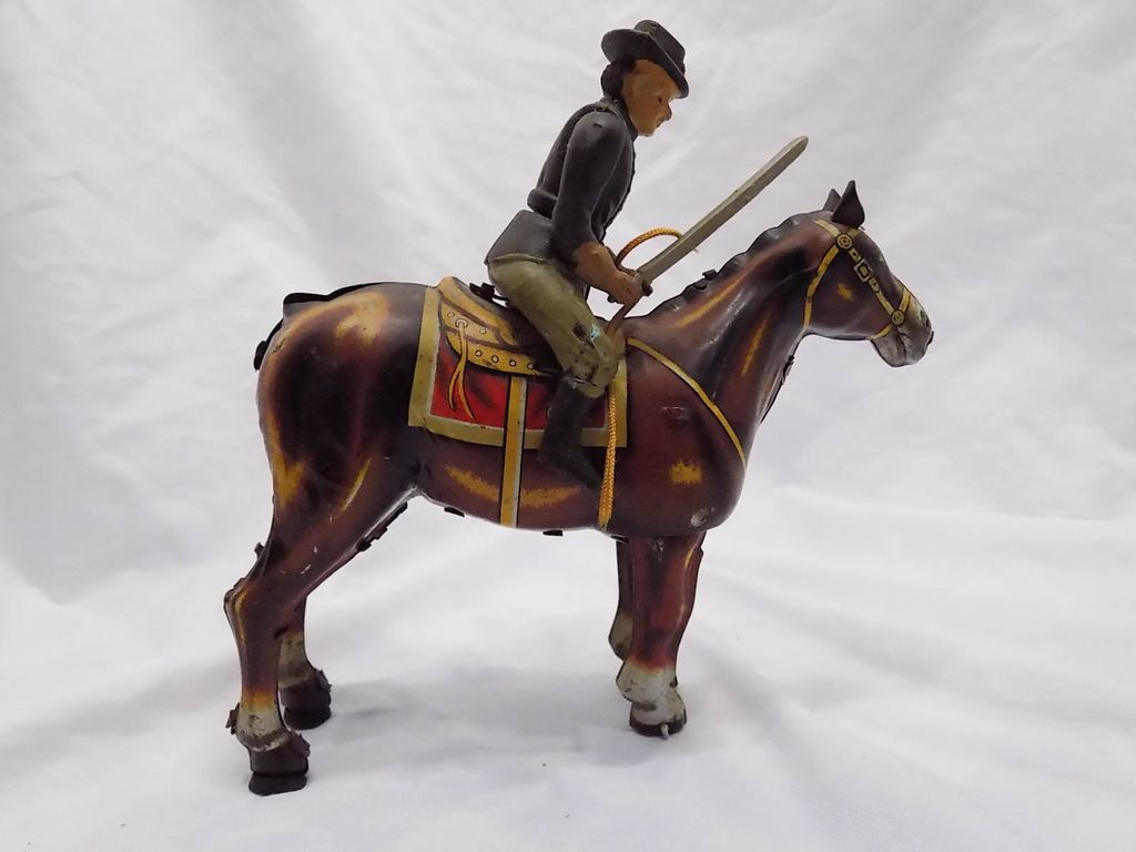 1950s mikuni japan union soldier on horse tin wind up toy for 76 2306 3