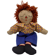 Awake Asleep Raggedy Ann Andy Doll Cloth Outlined Nose