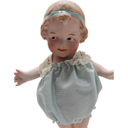 Antique German Gebruder Heubach All Bisque Coquette Doll Molded ribbon
