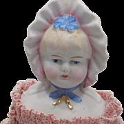 Antique German Hertwig Bonnet Head Doll Original Body