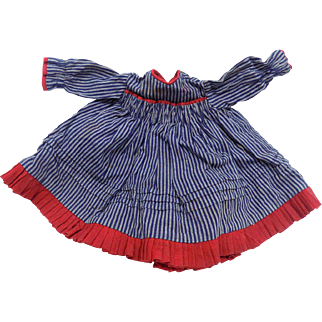 Antique German French Doll Dress Navy & Blue