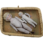 Pair German All Bisque Dolls Molded Hair