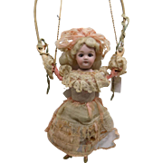 "10"" Antique German Bisque Tumbling Mechanical Doll Original Clothes Zinner & Sohne for patricia"